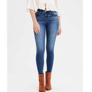 American Eagle Super Hi-Rise Stretch Jegging Skinny Jeans Medium Wash: 4 Short